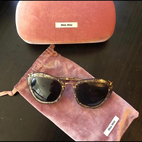 237ae89f434 Excellent Miu Miu Bronze Glitter Sunglasses. M 5b22e9cd534ef9efd9cf7e1d.  Other Accessories ...